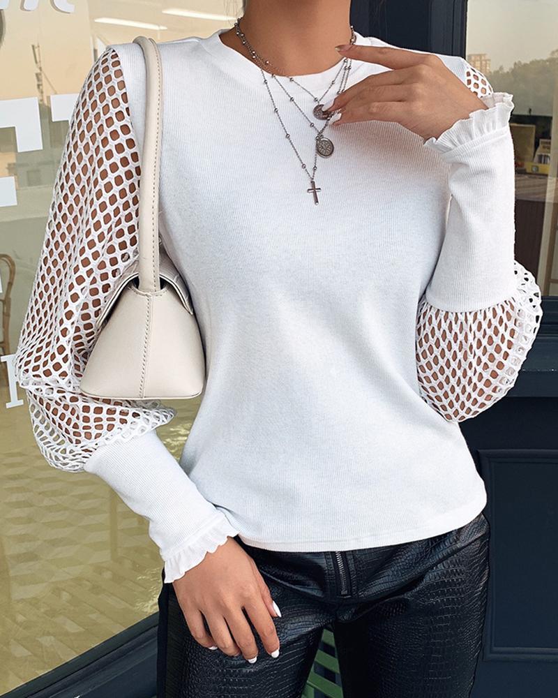 boutiquefeel / Blusa con dobladillo con volantes y manga de rejilla