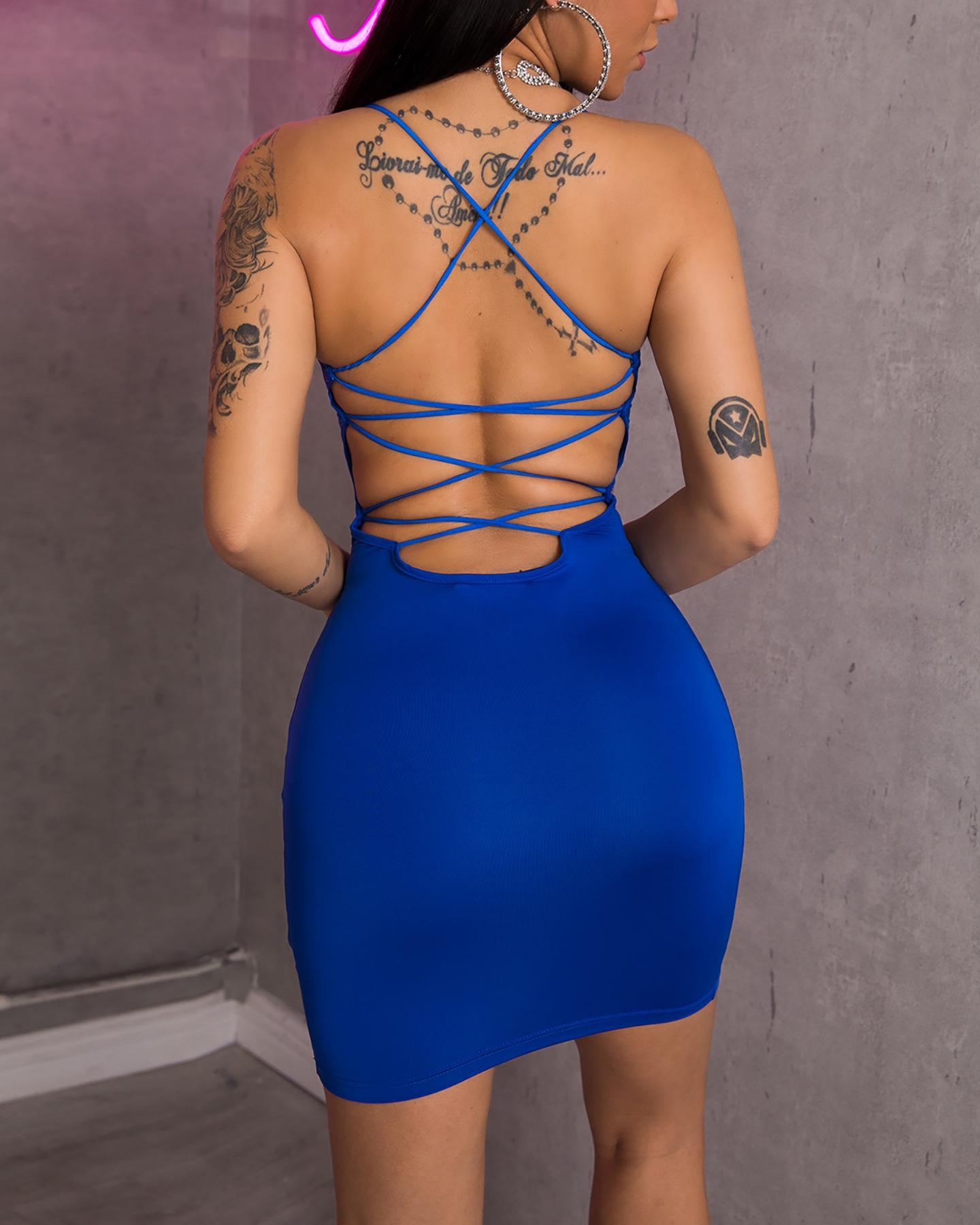 Crisscross Back Cutout Bodycon Dress