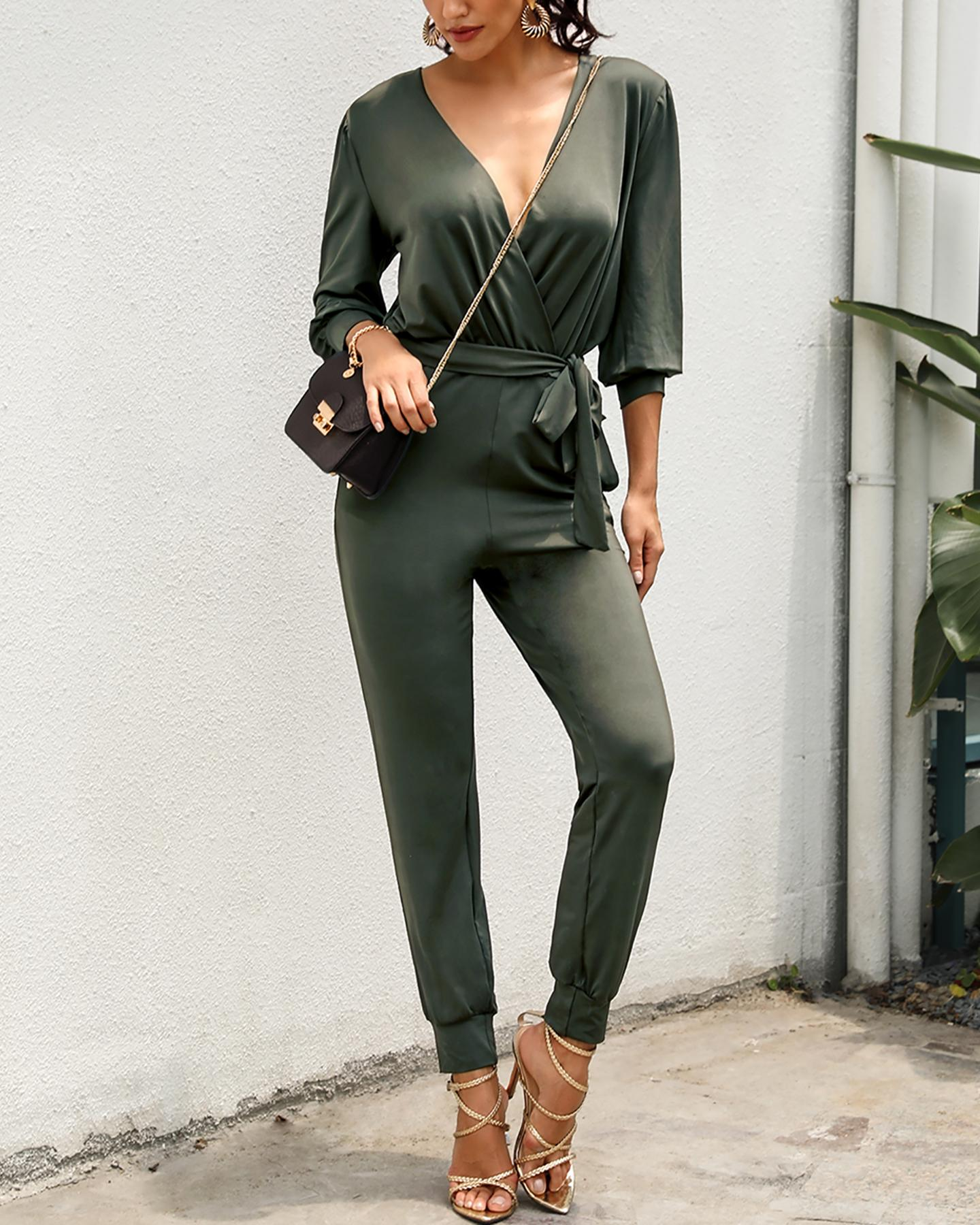 V-neck Ruched Casual Top & Pants Set фото