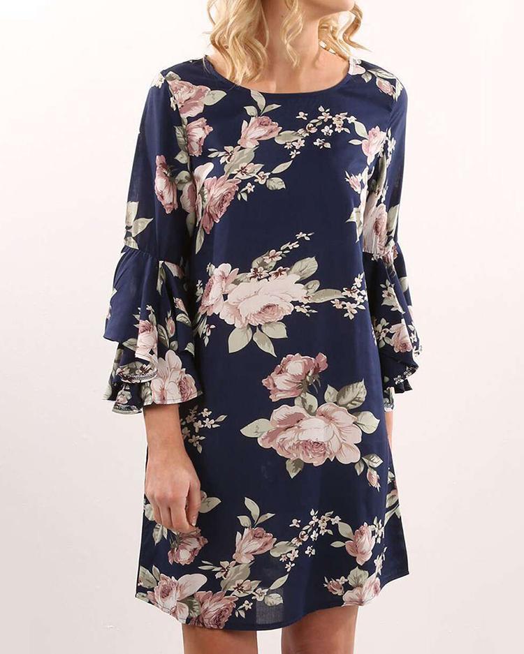 Модный Цветочный Расклешенный Рукав Туника Платье