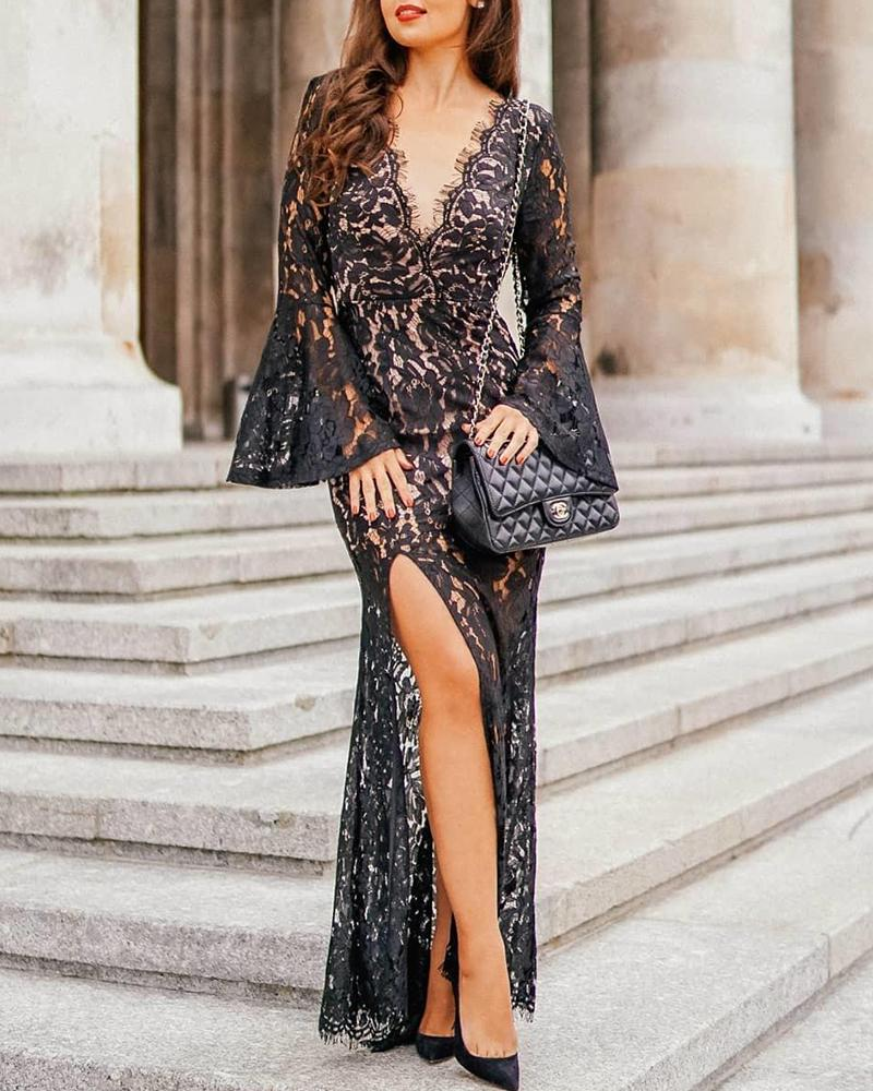 chicme / Bell Sleeve Lace Detail Maxi Dress