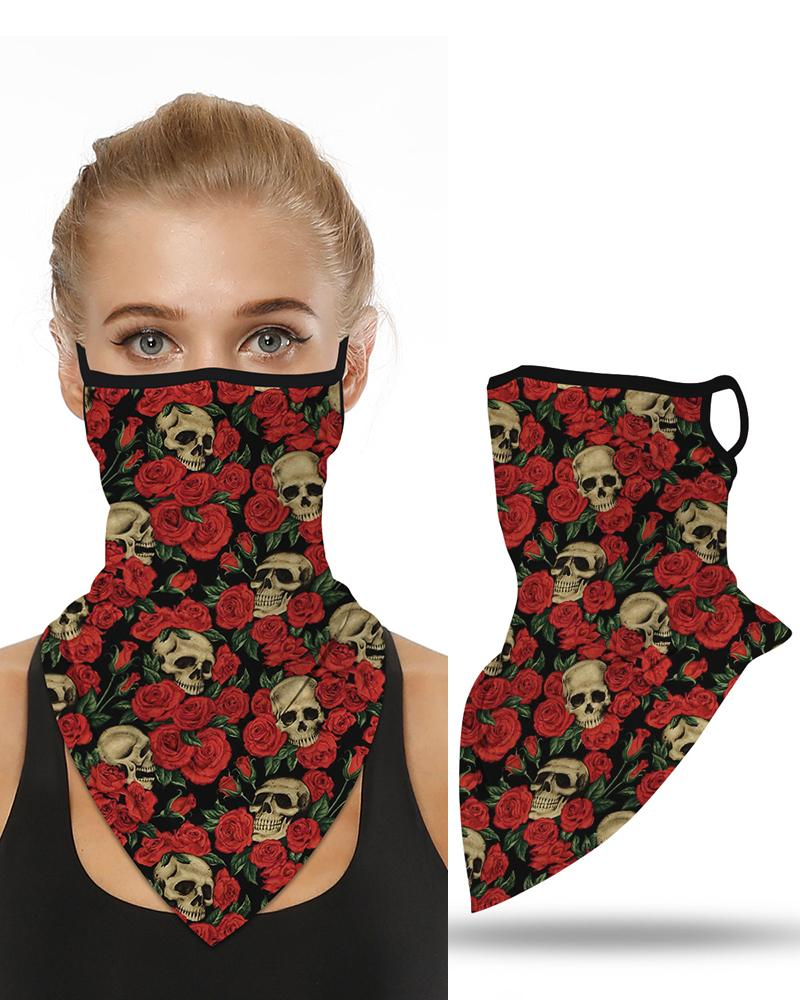 Skull Floral Print Breathable Ear Loop Face Cover Windproof Motorcycling Dust Outdoors Bandana фото