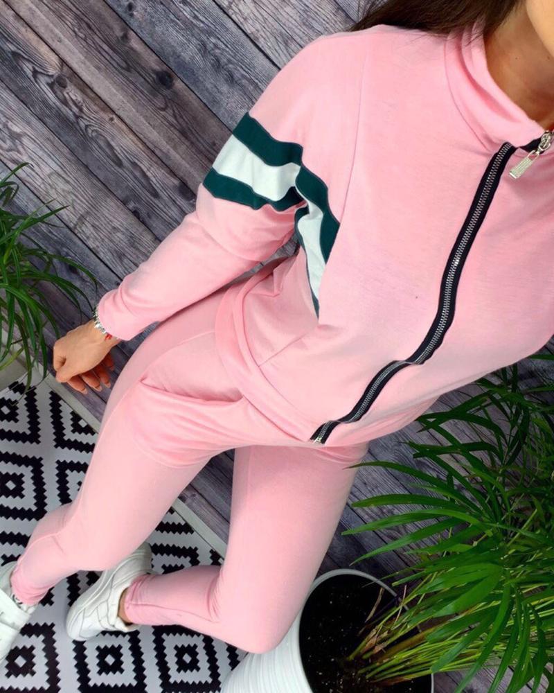 Colorblock Zipper Design Top & Pocket Design Pants Set фото
