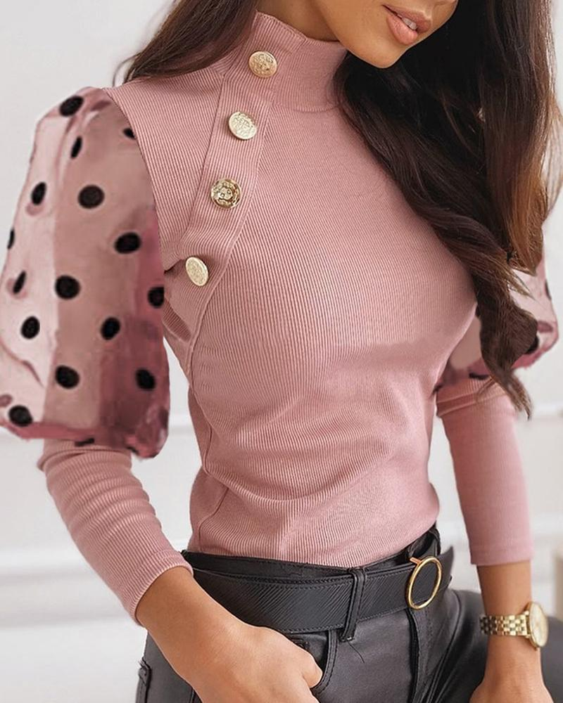 Mesh Dot Puffed Sleeve Buttoned Blouse фото