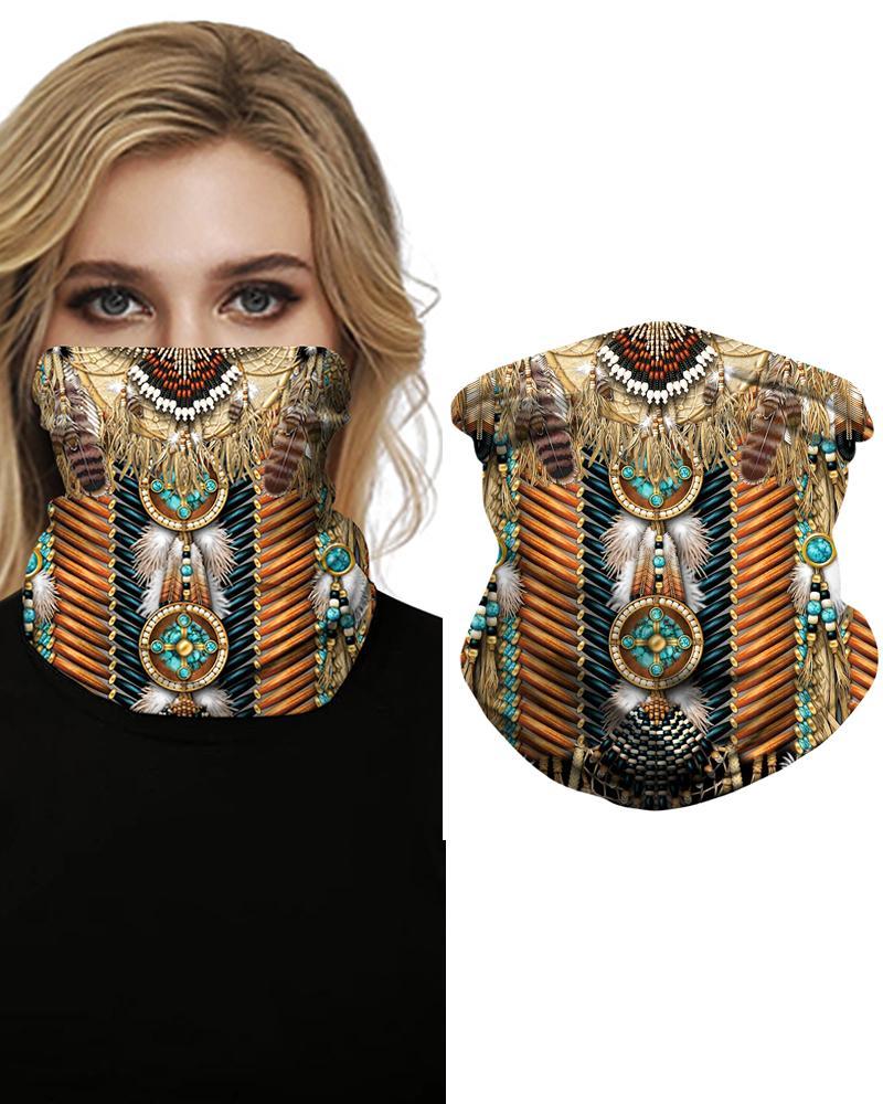 Print Face Bandana Magic Scarf Headwrap Balaclava, Coffee