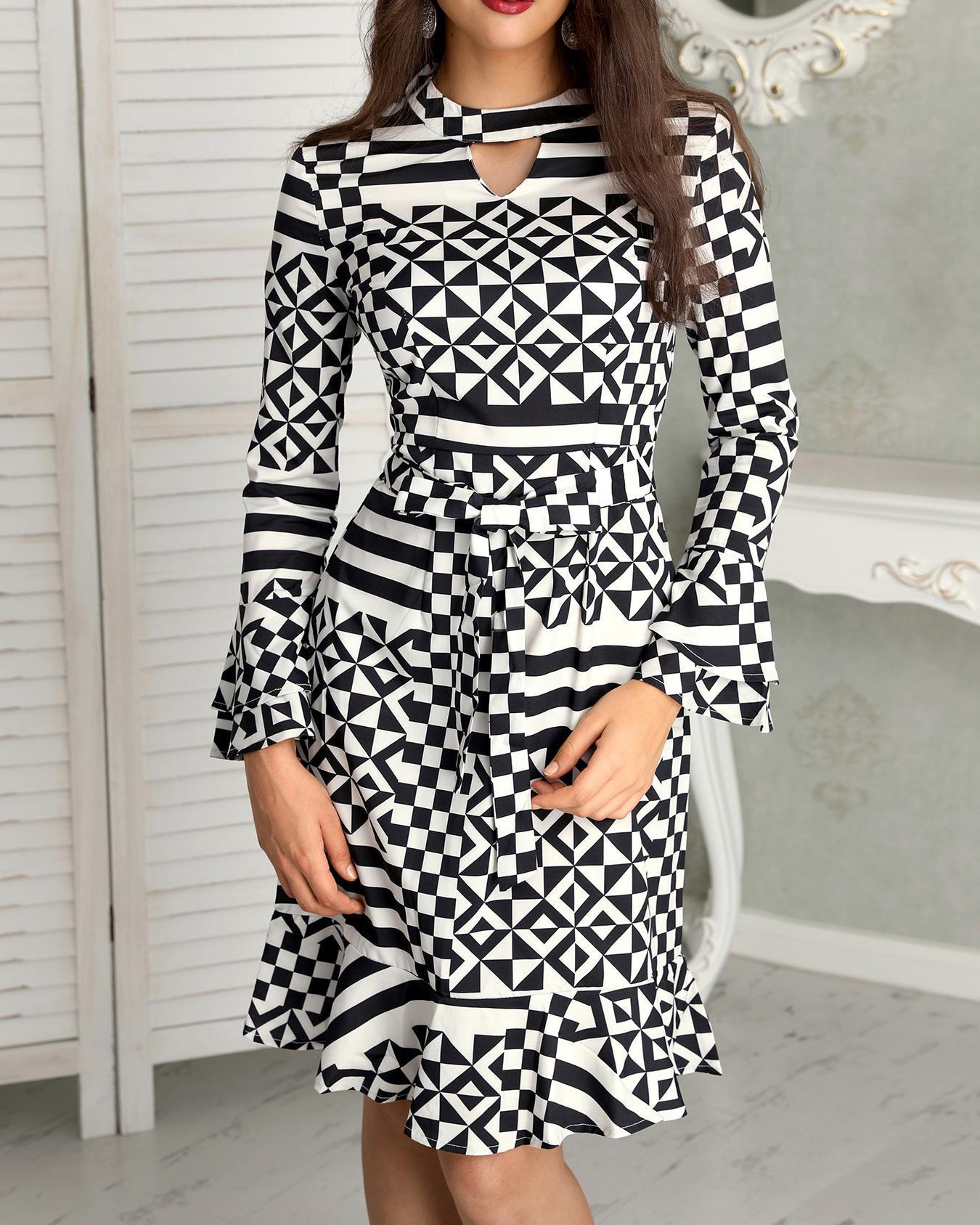 Geo Print Flare Long Sleeve Ruffle Hem Dress, Black