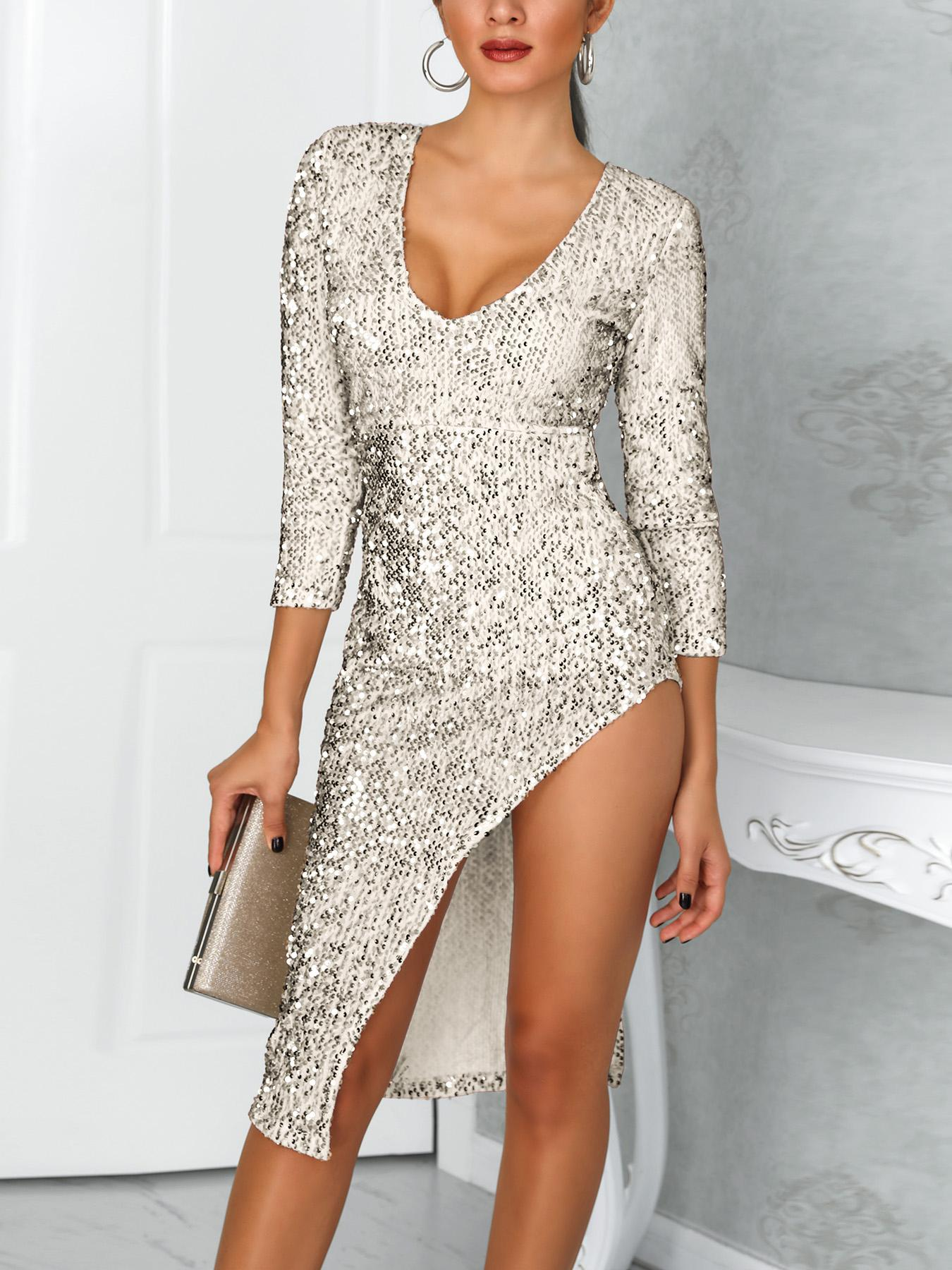 chicme / Vestido de lentejuelas con manga larga y abertura profunda de V