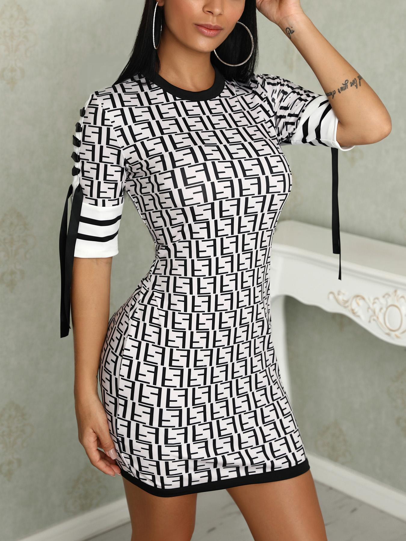F Inspired Print Striped Splicing Bodycon Dress