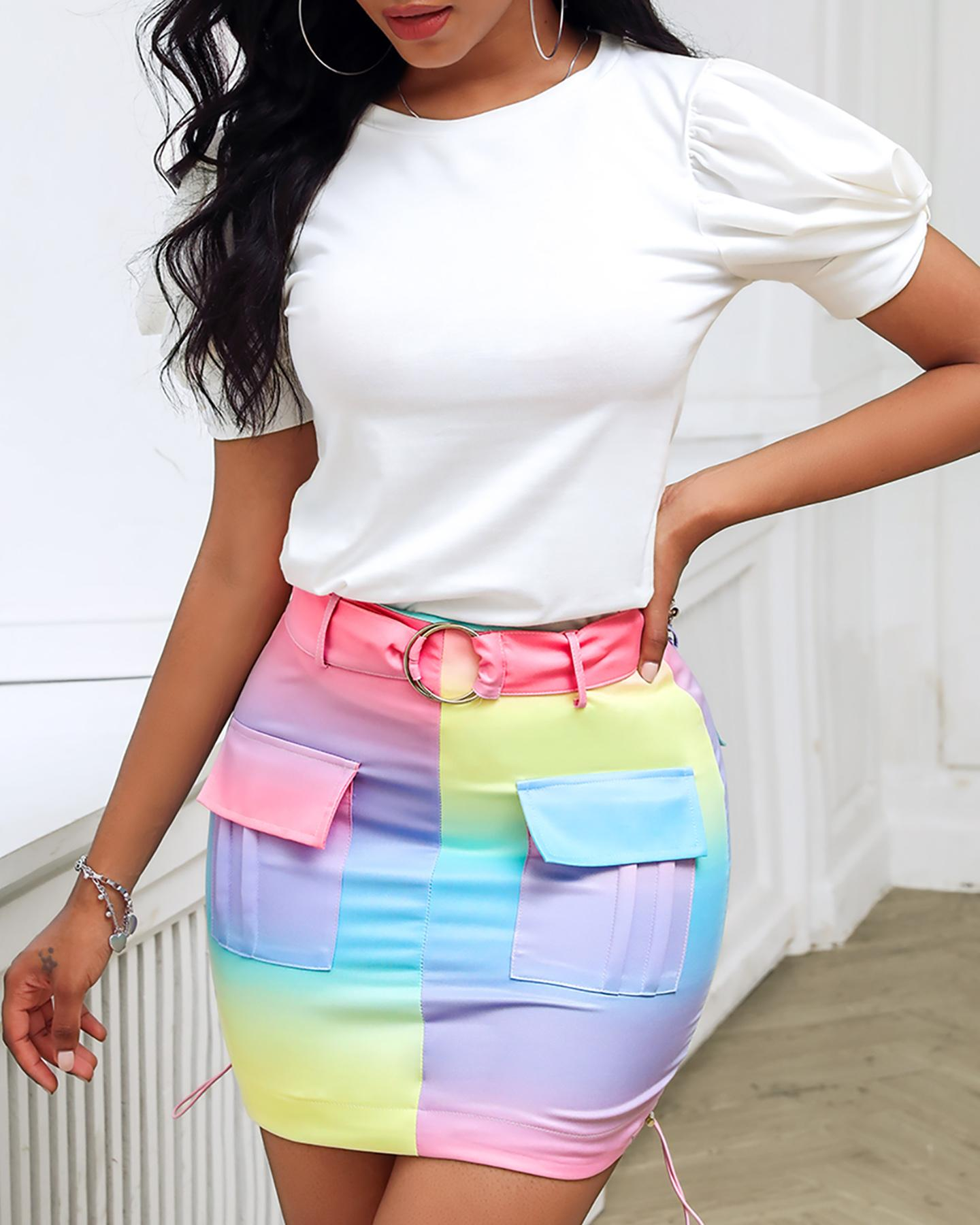 Puffed Sleeve Top & Colorblock Pocket Design Skirt Set фото