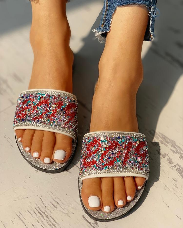 chicme / Open Toe Studded Design Flat Sandals