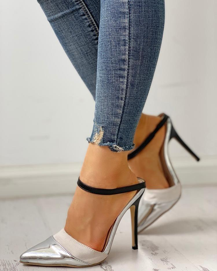 Pointed Toe Slingback Contrast Strap Thin Heels