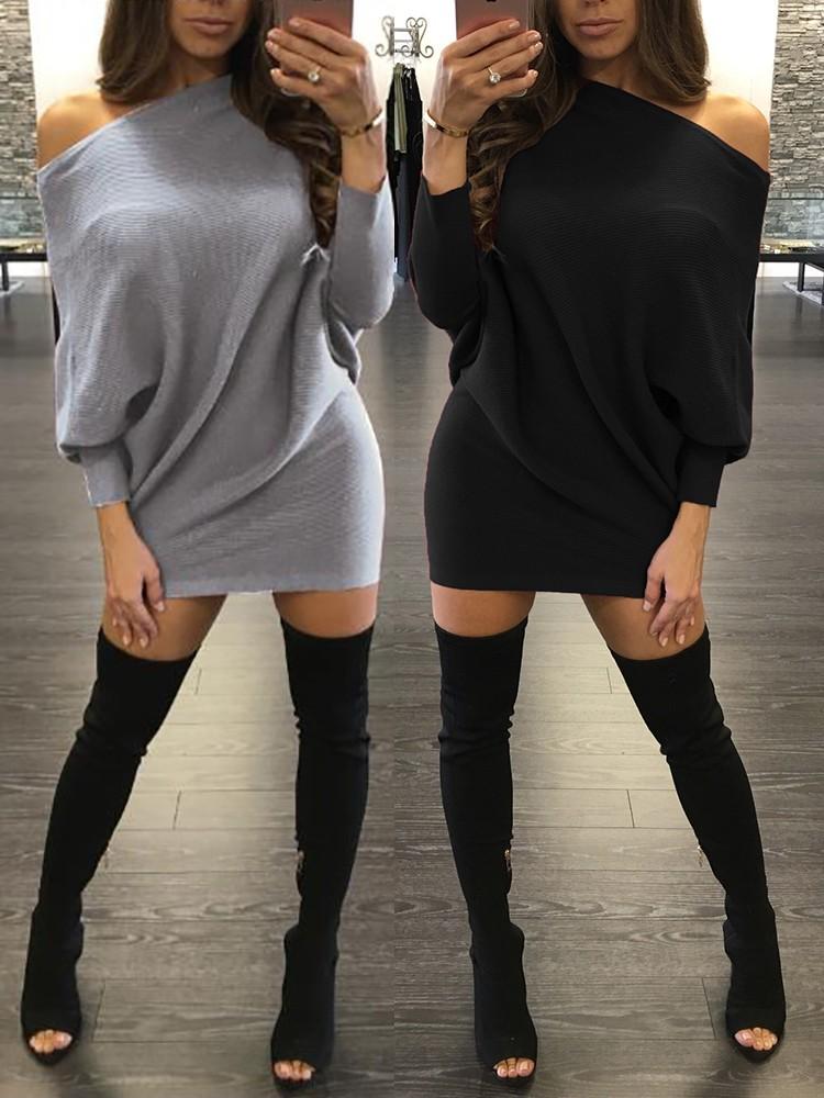 Women Bat Sleeve One Shoulder Casual Dress