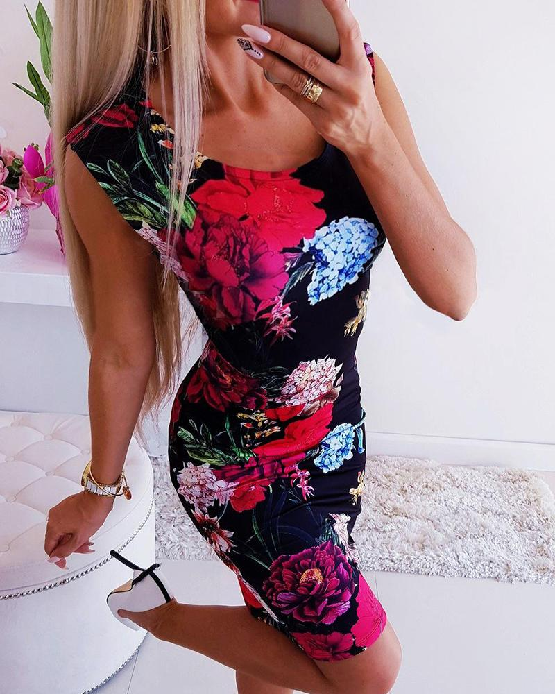 Floral Print Sleeveless Mini Dress фото