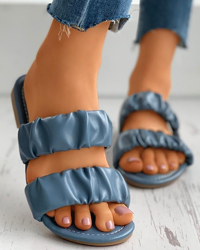 Open Toe Ruched Detail Flat Slider Sandals фото