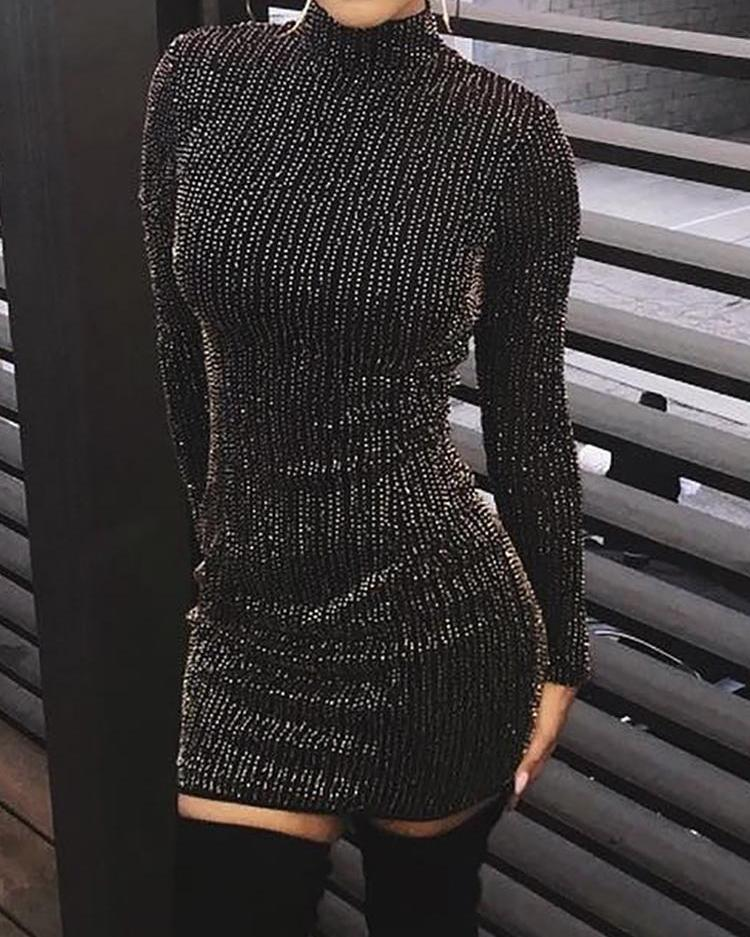 ivrose / Vestido de fiesta de manga larga rayas purpurina