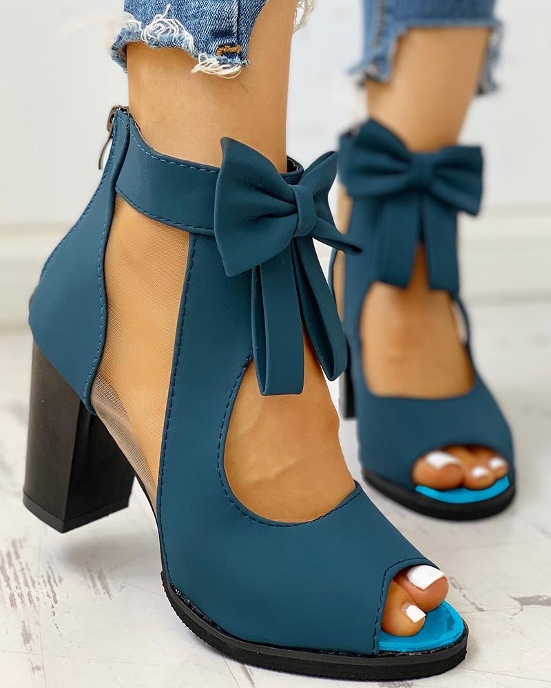 Peep Toe Mesh Insert Bowknot Chunky Heeled Sandals фото