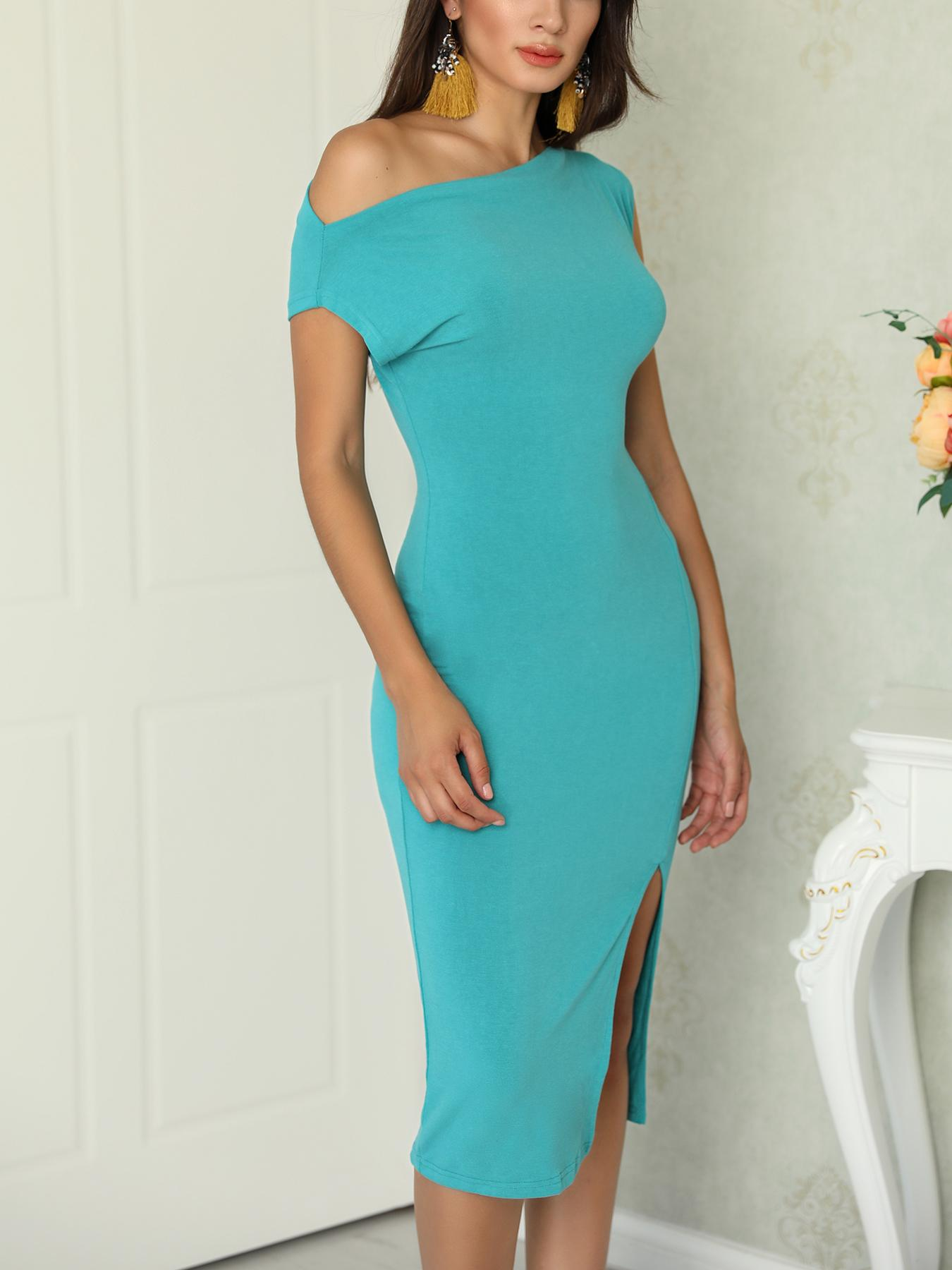 Solid Off Shoulder Slit Side Bodycon Dress