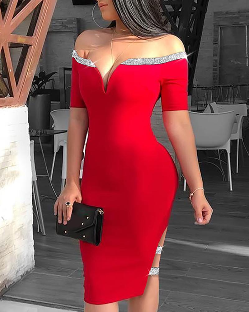 Off Shoulder Sequins Insert Slit Bodycon Dress, Red