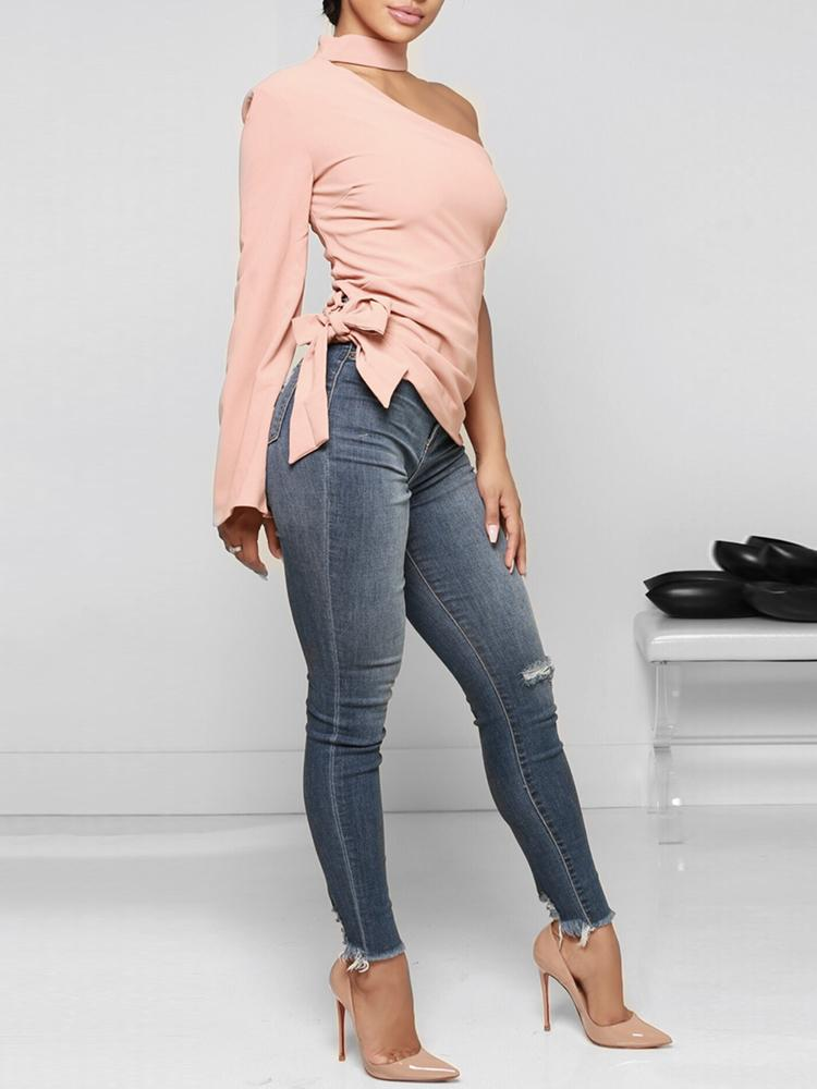 Halter One Shoulder Side Belted Casual Top