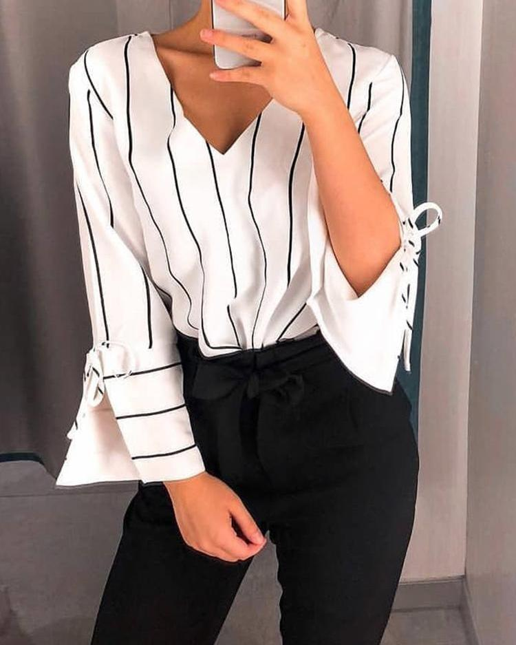Striped V-Neck Slit Sleeve Casual Top