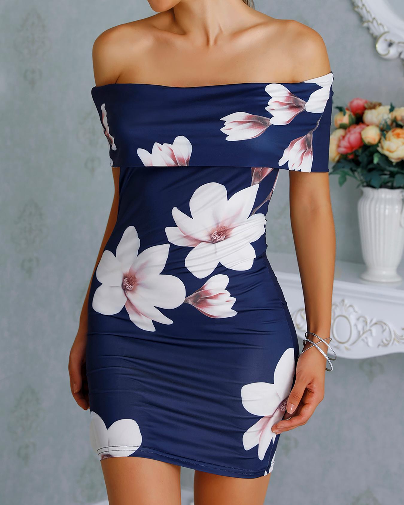 boutiquefeel / Floral con volantes de hombro vestido Bodycon