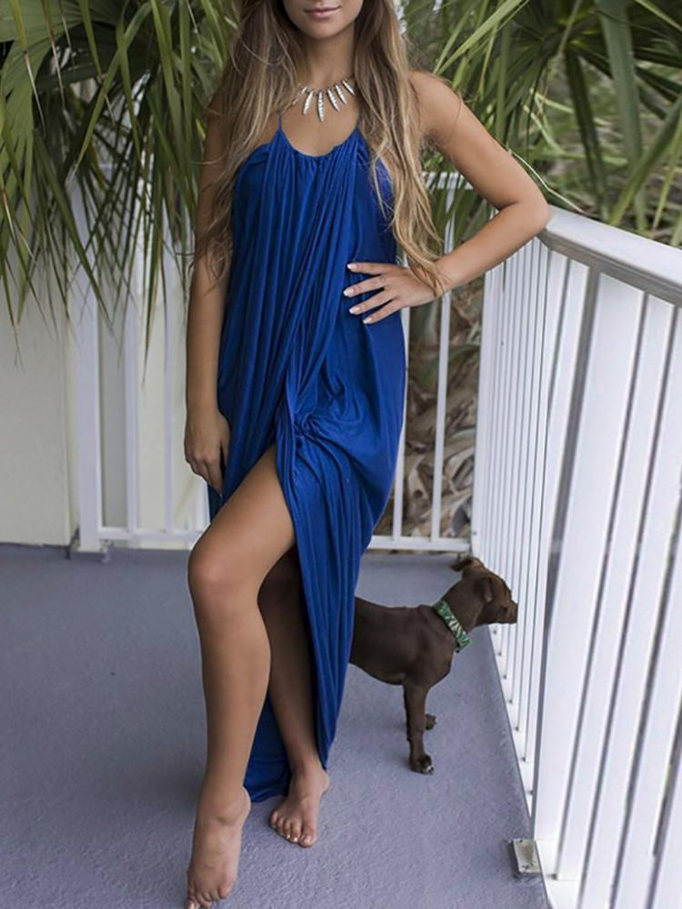 Boho Style Pleated Baggy Slit Maxi Dress