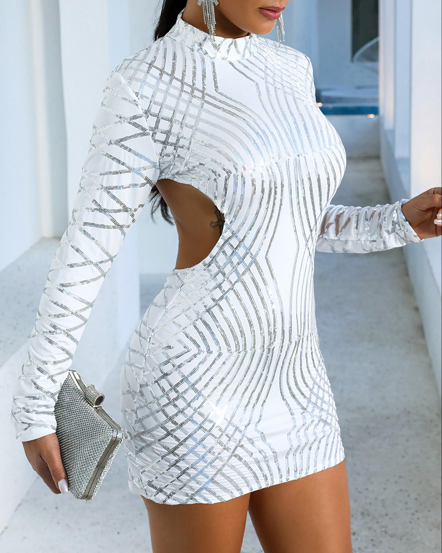 Shinny Open Back Long Sleeve Bodycon Dress фото