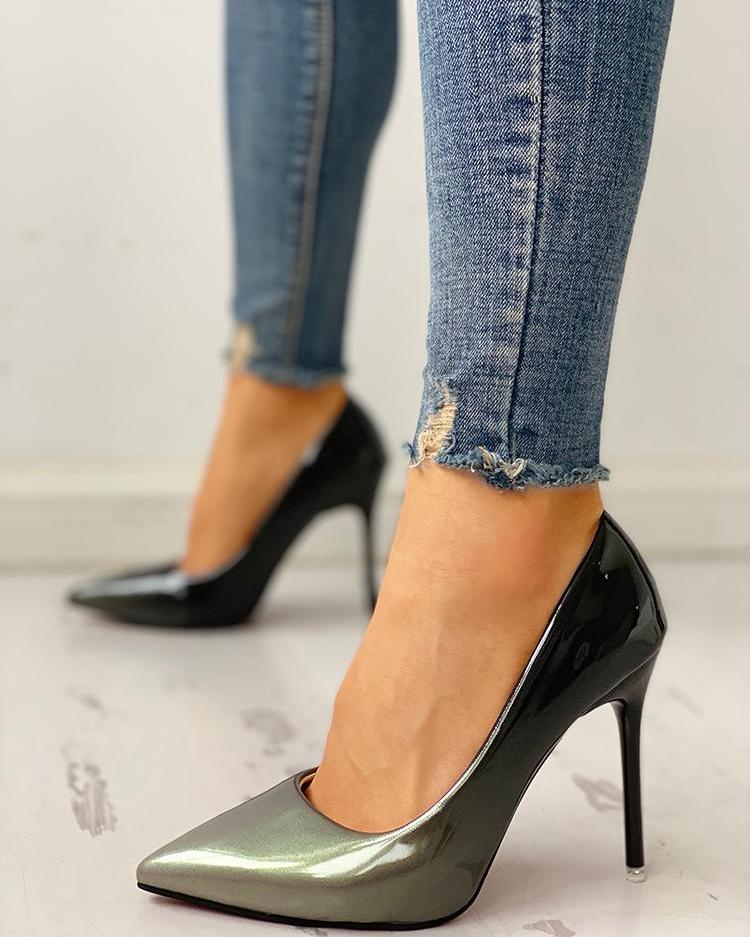Pointed Toe Gradient Color Thin Heels