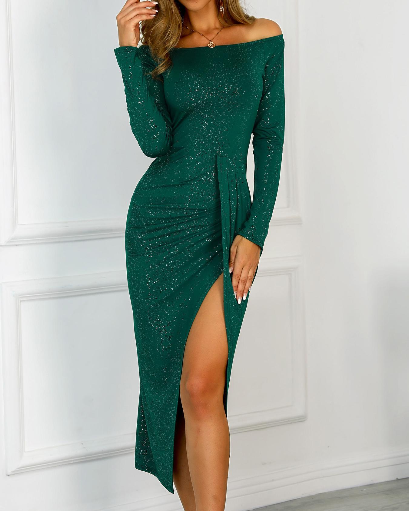 chicme / Glitter Off Shoulder Ruched Design Slit Dress