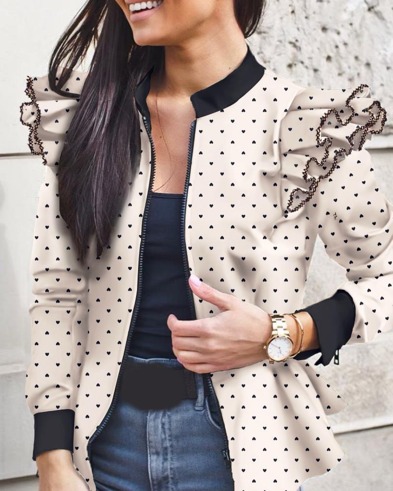 Heart Print Colorblock Ruffles Long Sleeve Jacket фото