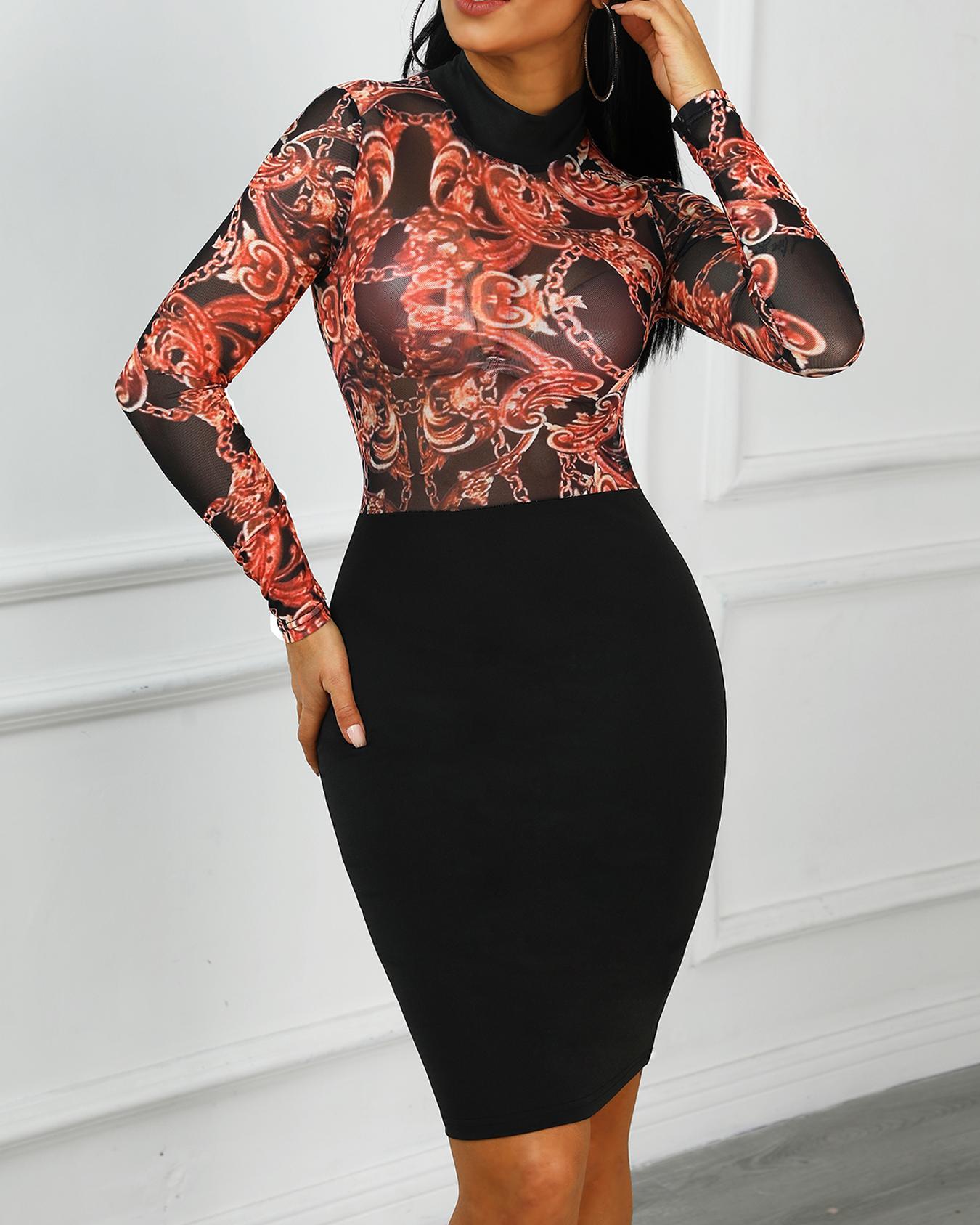 Sheer Mesh Chain Print Bodycon Dress фото