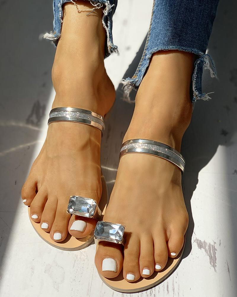 Studded Detail Toe Ring Slipper Sandals фото