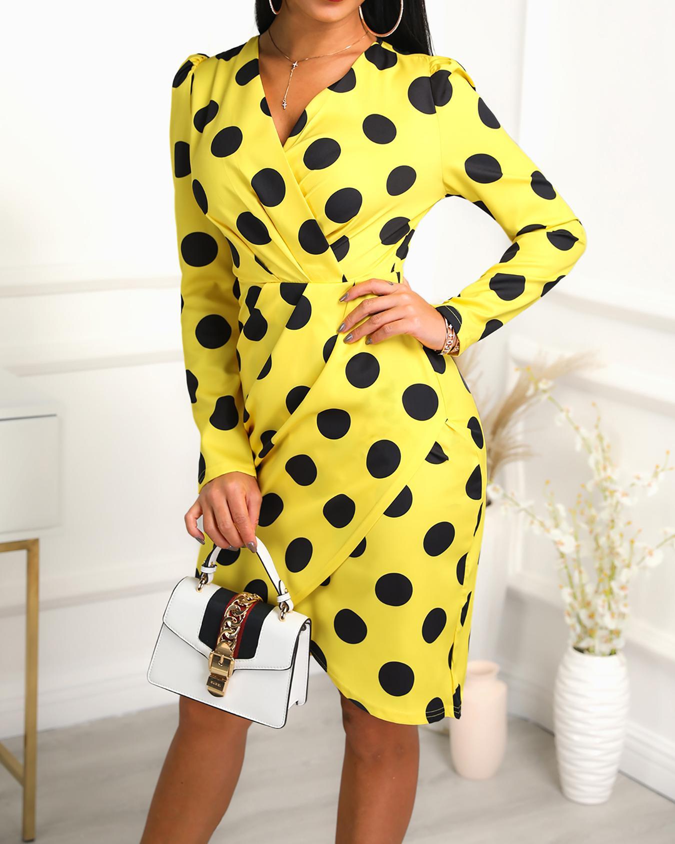 chicme / Dots Print V-Neck Wrap Irregular Dress