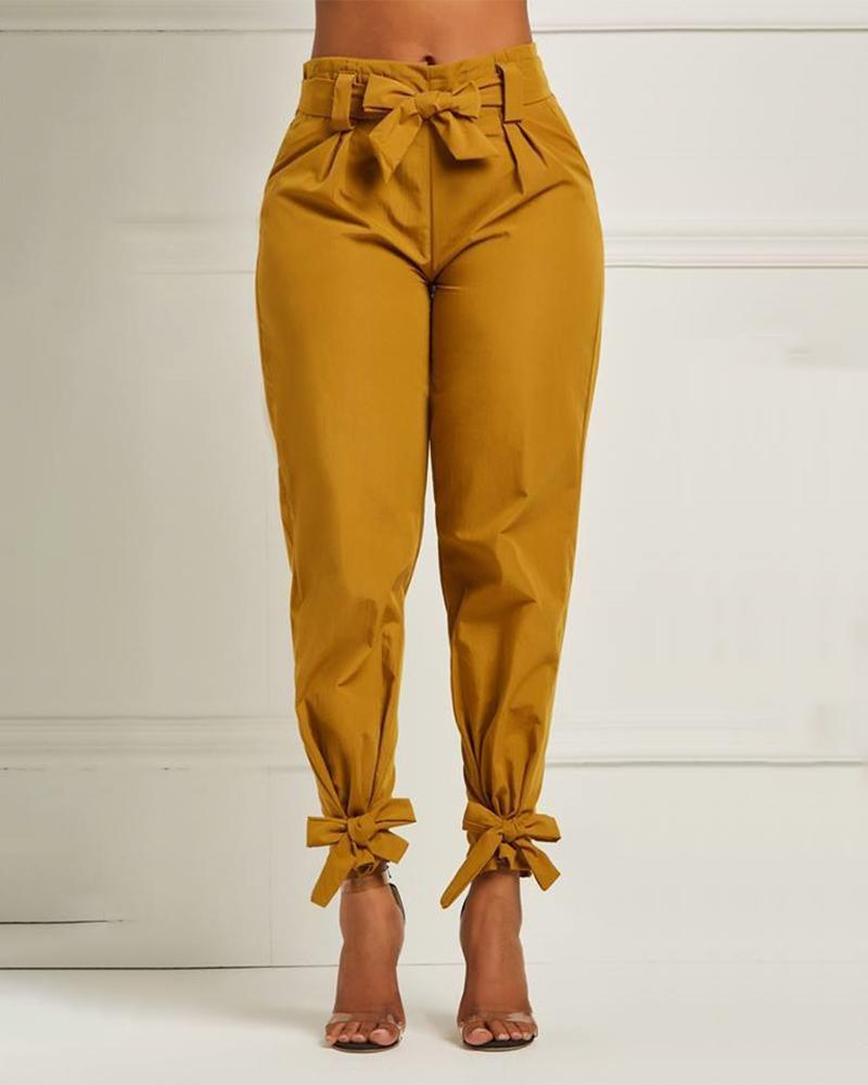High Waist Paperbag Waist Tied Ankle Casual Pants