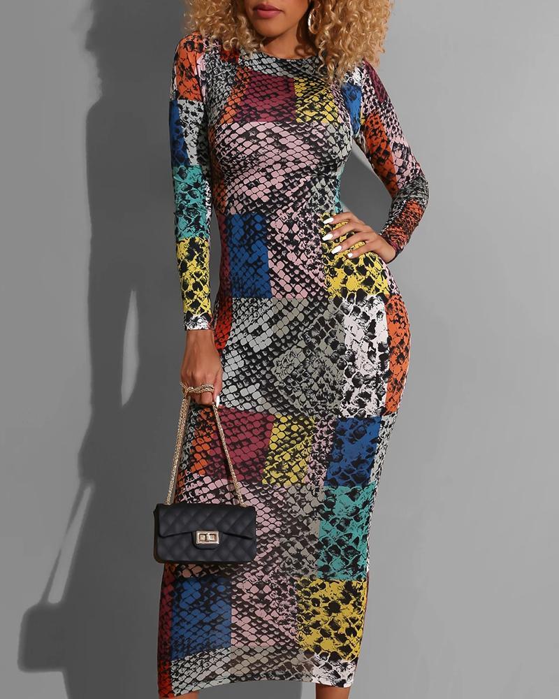 Round Neck Snakeskin Colorblock Long Sleeve Dress фото