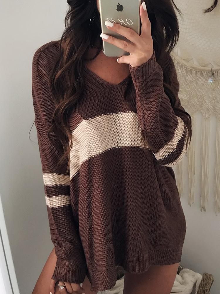 Contrast Stripes V Neck Casual Sweater