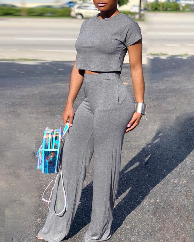 Short Sleeve Crop Top & Pant Sets, Gray