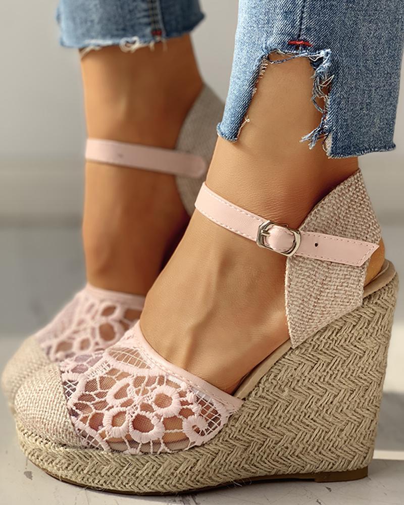 joyshoetique / Lace Platform Wedge Heeled Sandals