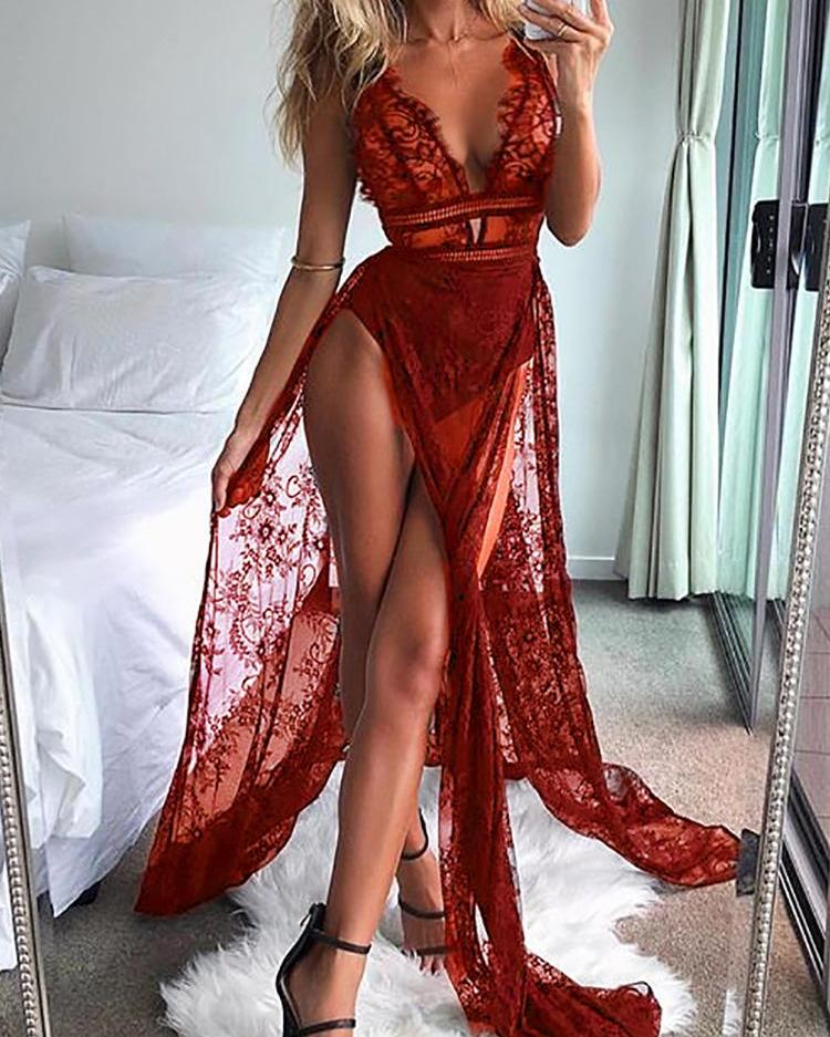 See Through Eyelash Lace High Slit Maxi Dress, Red