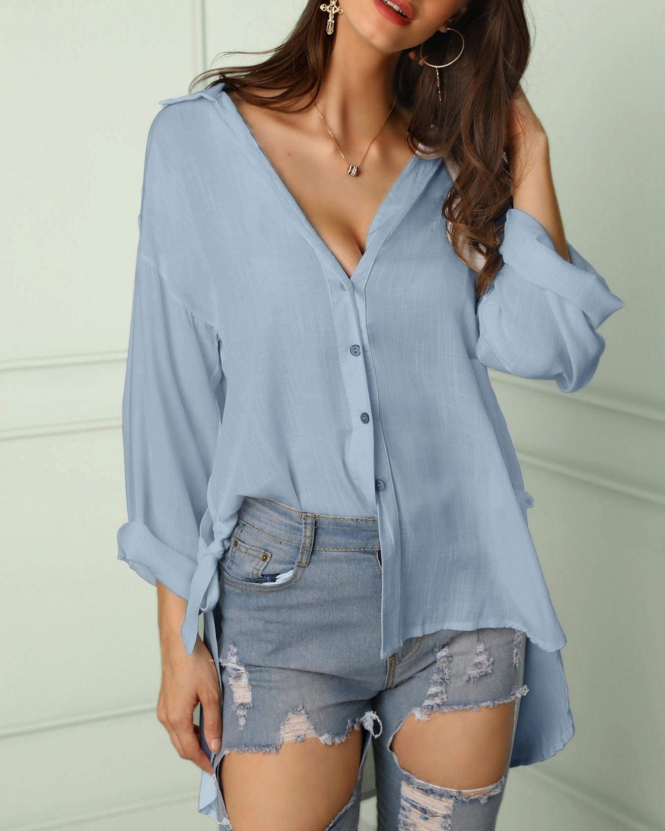 Solid Button Through Knot Side Loose Blouse фото