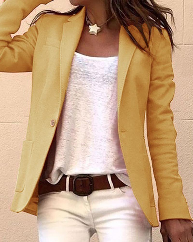Solid Long Sleeve Single Buttoned Blazer Coat фото