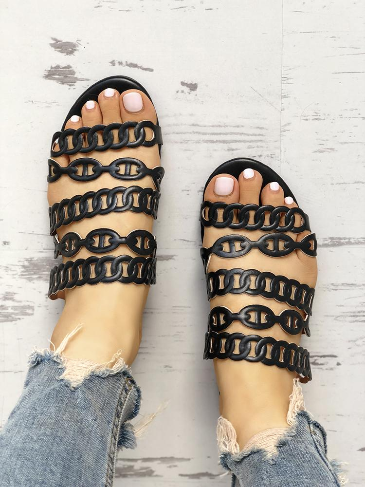 Solid Chain Multi-Strap Hollow Out Flat Sandals фото