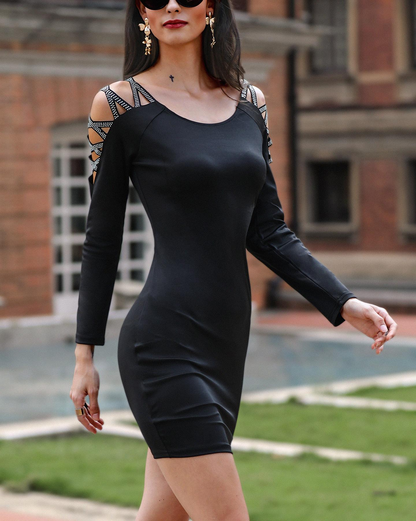 Hot stamping Lace-up Sleeve Bodycon Dress фото