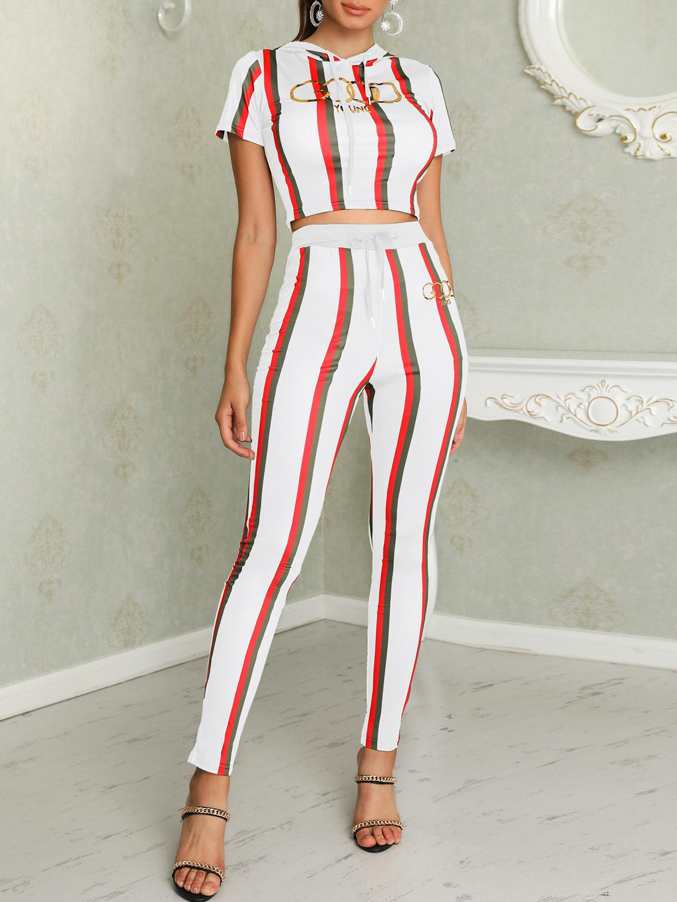 Striped Crop Hooded And Pants Set