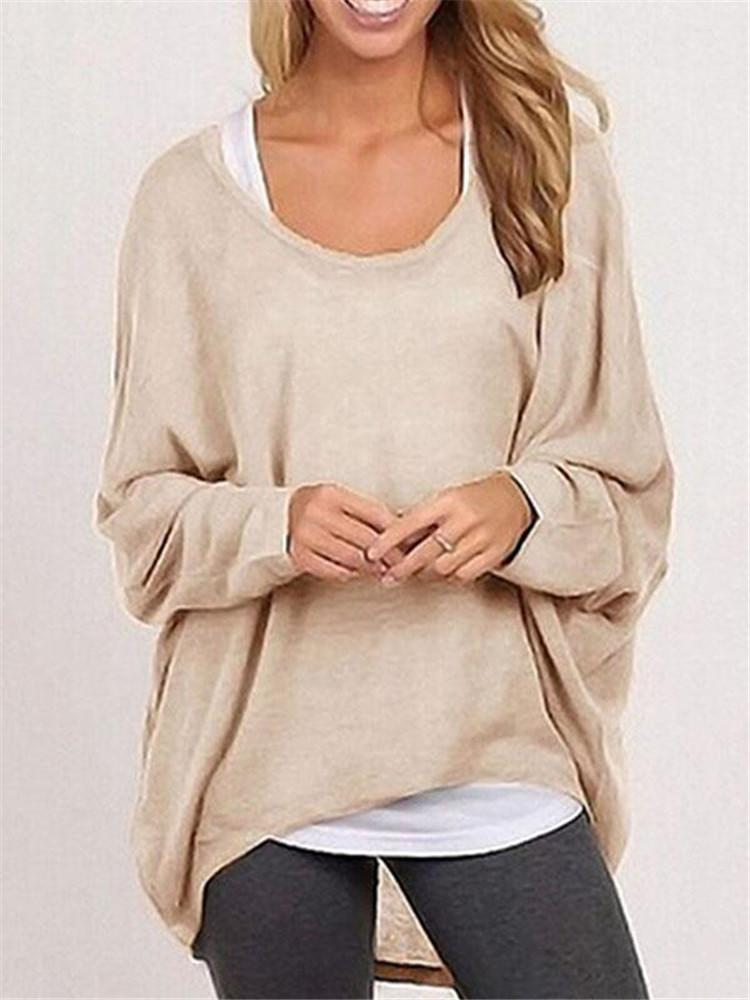 Fall Fashion Womens Long Sleeve Solid Color Woolen Sweater Plus Size Casual Tops Loose T-shirt Pullovers