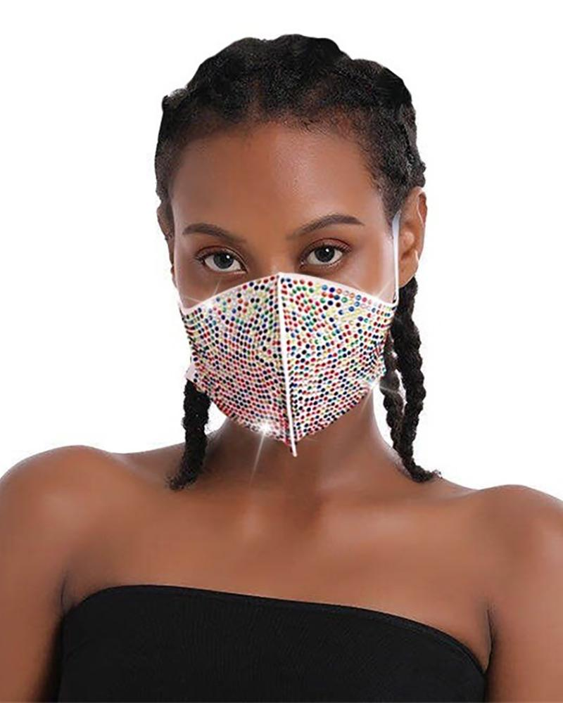 Daisy Pattern Colorblock Bling Rhinestone Face Mask