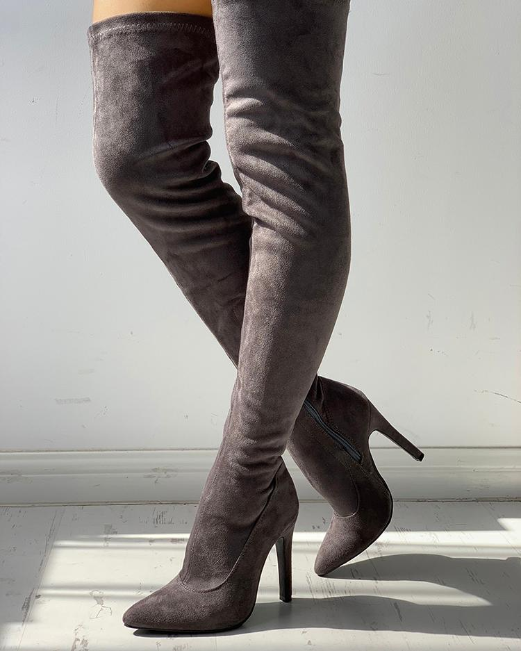 Knee-High Pointed Toe Heels Red Boots