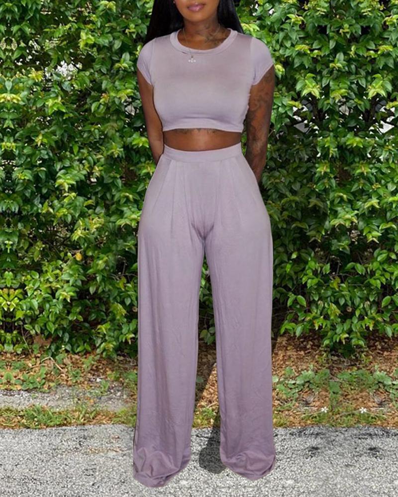 Solid Crop Top & Pants Set фото