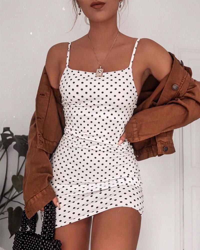 Square Neck Polka Dot Cami Dress фото