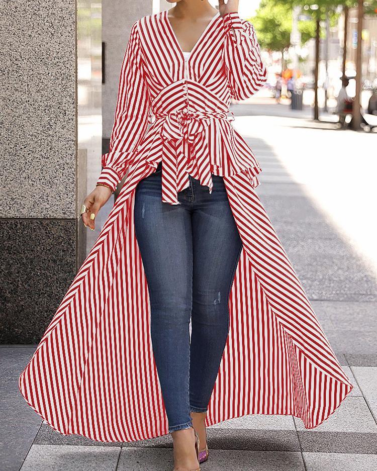 V-Neck Striped Tie Waist Dip Hem Irregular Blouse, Red